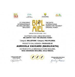 Premio Miele biologico di Millefiori di Basilicata