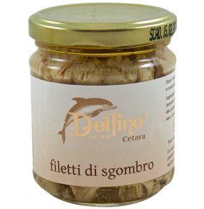 Filetto spinato di sgombro del mediterraneo conservato in olio d'oliva