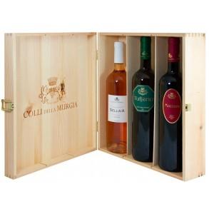 Scatola in legno da 3 vini pugliesi biologici Colli della Murgia