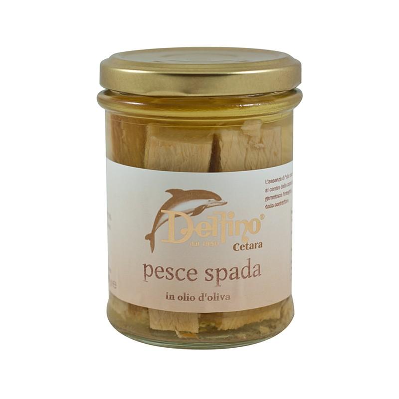 Filetti di pesce spada lavorato a mano in olio d'oliva