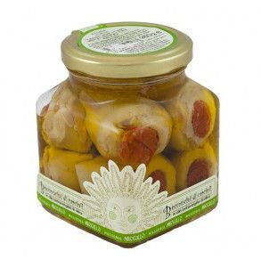 Carciofini ripieni di pomodori secchi sott'olio
