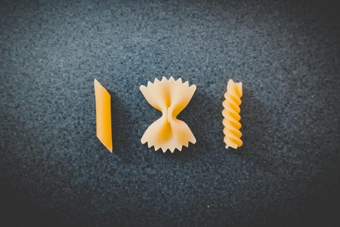 3 formati di pasta