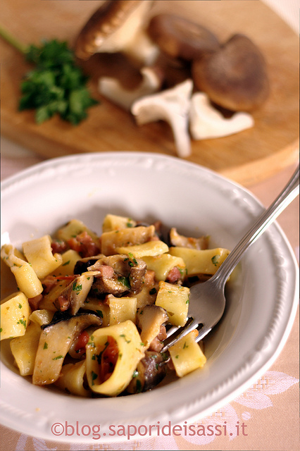 Mezzi paccheri-funghi cardoncelli-pancetta