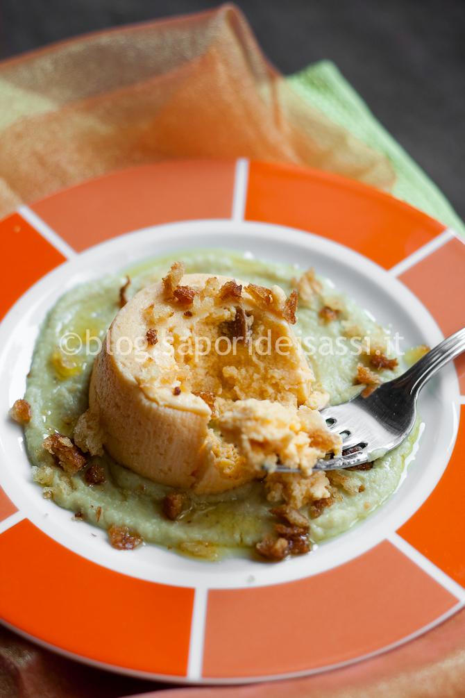 Flan di Zucca su crema di Broccoli