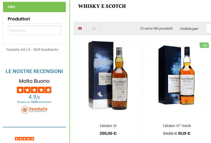 recensioni ecommerce whisky