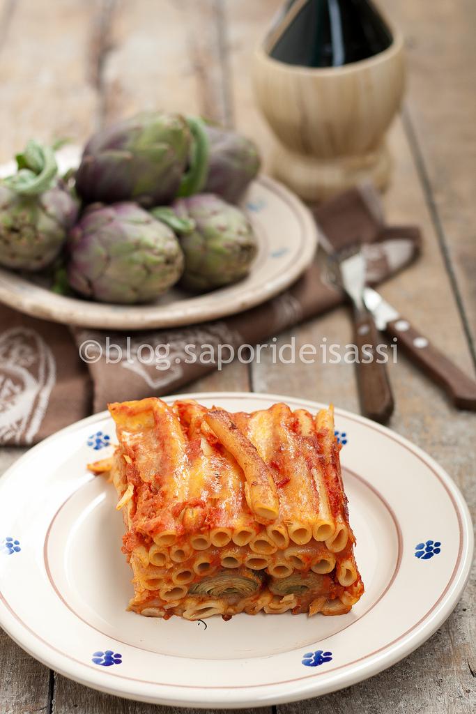 Ziti al forno con i carciofi, pranzo di una domenica lucana